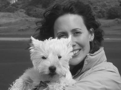 Minnie the west highland white terrier with Cornelia Luethi