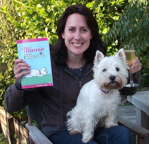 Photo #1: Cornelia Luethi and Minnie celebrating the publication of 'Minnie The Westie'