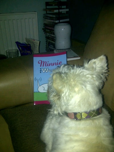 Willo checks out the 'Minnie The Westie' book