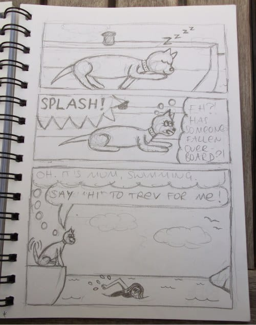 Step 2 of the cartooning process for Minnie The Westie cartoons: the fine sketch.