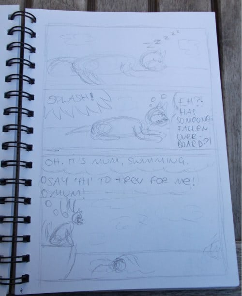 Step 1 of the cartooning process for Minnie The Westie cartoons: the rough sketch.