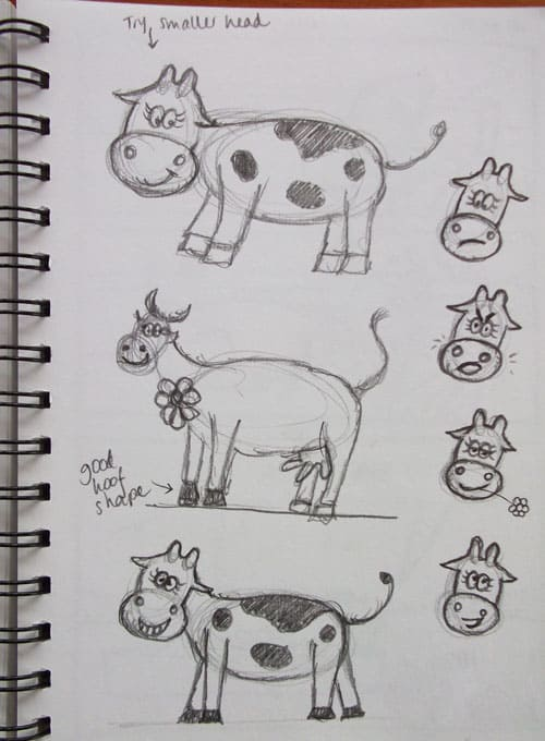Mum's practice sketches of a moo-moo (yes, there will be moo-moos in my next book!). Notice how she is practicing the body shapes and also the facial expressions. Mum also writes notes about what she likes and doesn't like in the sketches.