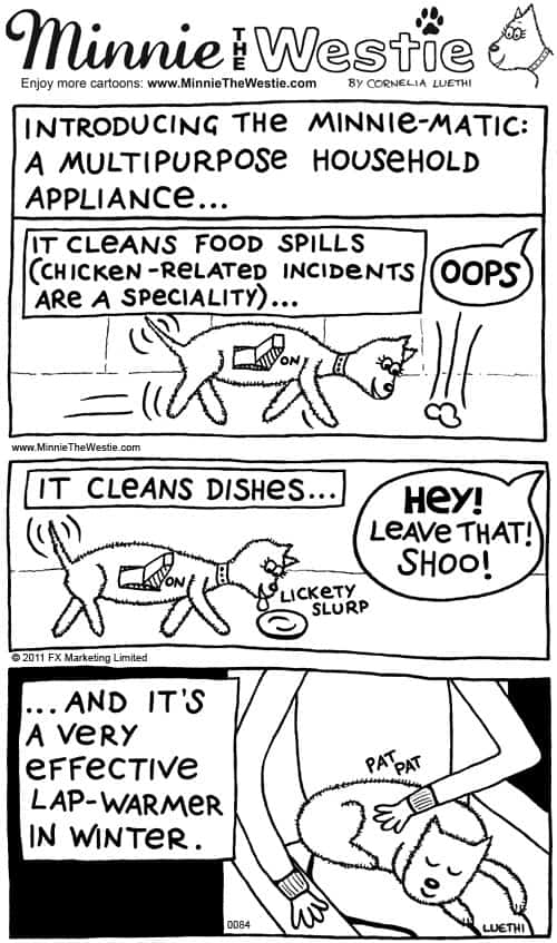Minnie The Westie cartoon of the month July 2012: Minnie-Matic