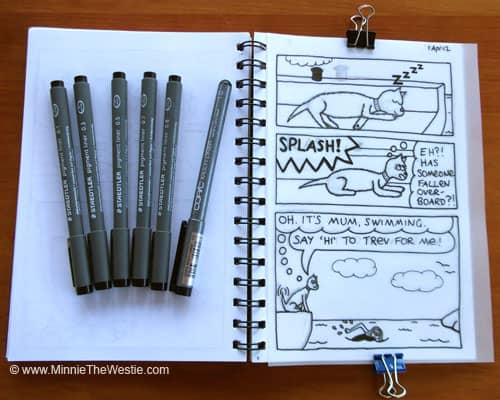 The materials used for outlining Minnie The Westie cartoons include tracing paper, fold-back clips and Indian Ink pens.
