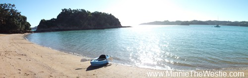 We have the whole bay to ourselves at Ponui Island.